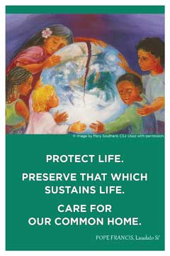 Front cover of the USCCB's Laudato Si' Postcard