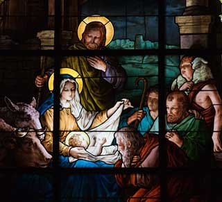 Stained glass depicting the birth of Jesus