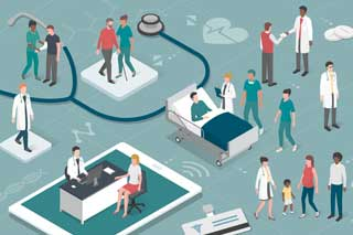 Stylized isometric illustration of doctors, patients, and medical equipment