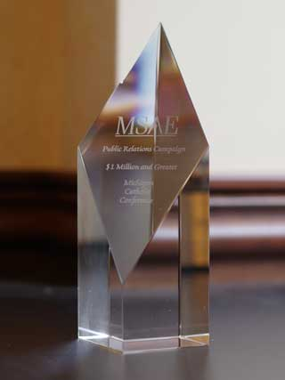 MSAE Diamond Award given to Michigan Catholic Conference in recognition of it's Freedom to Serve advertising campaign