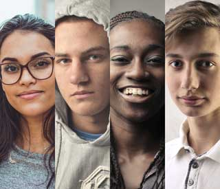 A series of portraits of young men and women