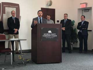 David Maluchnik, MCC Vice President of Communications, speaks at a press conference at Monroe County Community College about Proposal 1