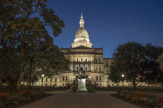 A photo taken at dusk of the Michigan Capitol building