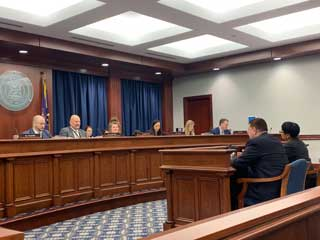 Senators Peter Lucido (R-Shelby Twp) and Sylvia Santana (D-Detroit) speak in support of Raise the Age legislation in front of the Senate Judiciary and Public Safety Committee