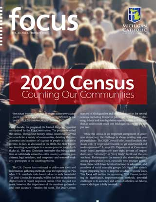 Cover of the February 2020 issue of FOCUS, entitled 2020 Census—Counting Our Communities