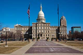 The exterior of the State Capitol Building in Lansing, Michigan