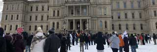 Pro-life individuals gather at the State Capitol in Lansing for the Michigan March for Life