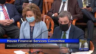 MCC Vice President of Public Policy Tom Hickson testifying in front of the House Financial Services Committee during a discussion of payday lending services