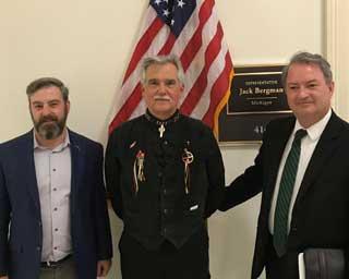 Tom Hickson (MCC), Curtis Chambers (Burt Lake Band of Ottawa Indians), and Paul Stankewitz (MCC) stand outside of Representative Jack Bergman's office in Washington, D.C.