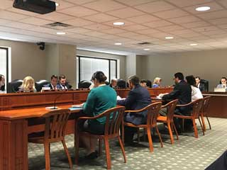Michigan Catholic Conference staff and representatives of The Catholic Diocese of Kalamazoo and Diocese of Gaylord speak before the House Law and Justice Committee regarding safe environments and policies to protect children