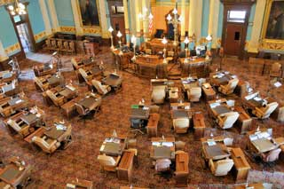 The Michigan Senate Chamber at the state capitol building shown from above
