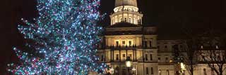 A nighttime photo of the lit 2018 official Michigan Christmas tree in the foreground and the State Capitol Building in the background