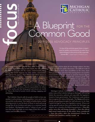 Front cover of FOCUS for January 2019: A Blueprint for the Common Good