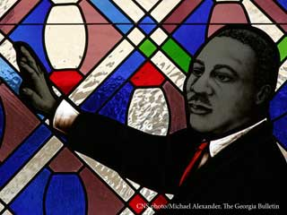 A stained glass window featuring Martin Luther King Jr.