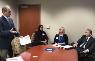 From left to right, Aamina Ahmed, Karen Holcomb Merrill from the Michigan League for Public Policy, and MCC's Policy Advocate Paul Stankewitz participate in a panel discussion during Muslim Capitol Day
