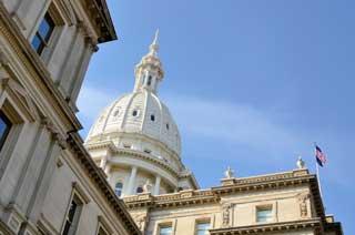 A closeup photo of the Michigan Capitol Building