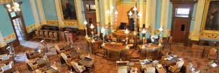 An overhead view of the Michigan Senate floor
