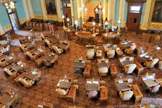 An overhead view of the Michigan Senate floor