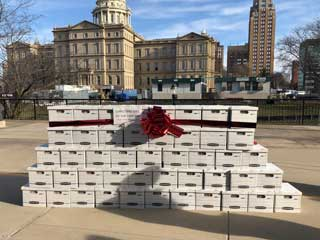 Boxes containing the 379,418 total signatures submitted to the Board of State Canvassers in support of ending the second trimester dismemberment abortion procedure