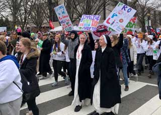 Pro-life marchers participating in the March for Life in Washington D.C.