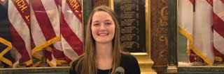 Molly Yonker—a senior at Sacred Heart Academy—sharing how educational choice has had a positive impact on her life at a rally for School Choice Week at the Michigan State Capitol