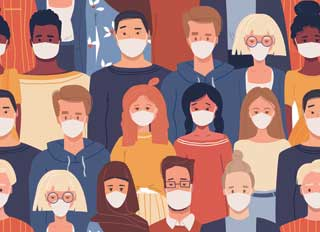 An illustration of diverse Michigan residents all wearing protective face masks
