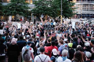 Protesters in Minneapolis, Minnesota where George Floyd was killed