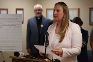 MCC Policy Advocate Rebecca Mastee speaks at a press conference held earlier this year in support of the Michigan Values Life petition drive