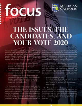 "Front cover of September's issue of FOCUS, ""The Issues, The Candidates, and Your Vote 2020"""