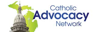 The Catholic Advocacy Network logo, featuring the Michigan Capitol Building dome, an outline of the state of Michigan, a crucifix, and the words Catholic Advocacy Network